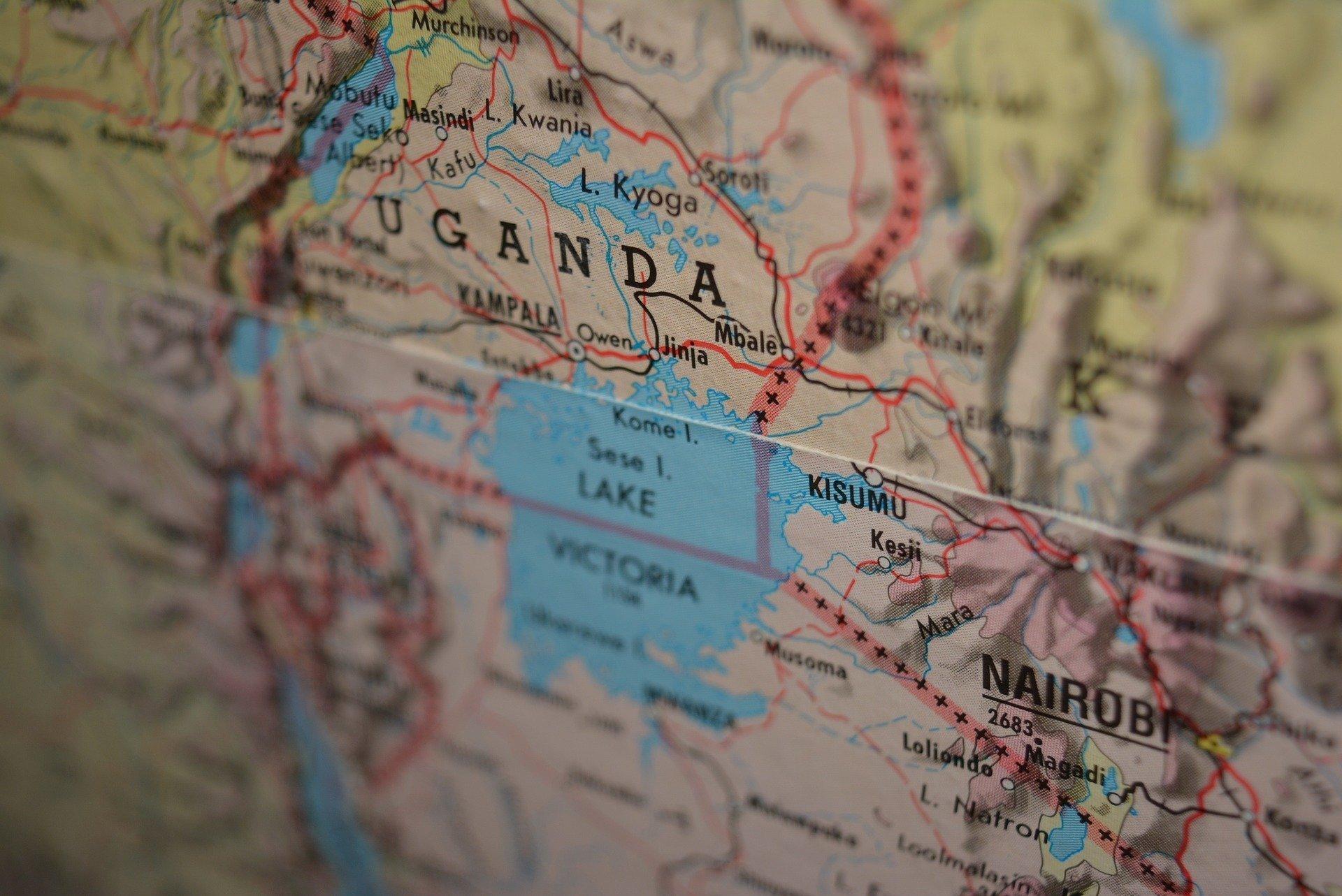 Photograph of a close-up map of Uganda